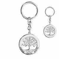 Porte clés arbre de vie 1 à 6 prénom(s), date(s), face + verso, argent 925