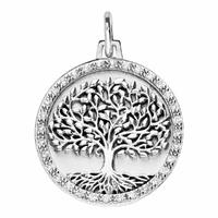 Pendentif arbre de vie + gravure, oxydes & argent 925 rhôdié, modèle au choix