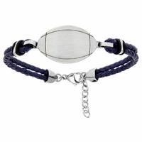 Bracelet rugby + gravure, cuir bleu & acier, Junior ou adulte