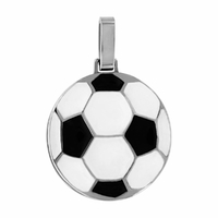 Pendentif ballon de foot noir & blanc + gravure, acier