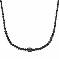 Collier rugby + gravure(s) pierre de lave & acier noir - 60cm