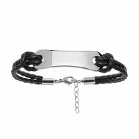 Bracelet cuir & acier + gravure - régl. 19-22cm