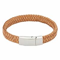 Bracelet cuir marron clair & acier + gravure, long. 21cm