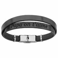 Bracelet papa on t'aime, cuir noir & acier, régl. jusque 20cm