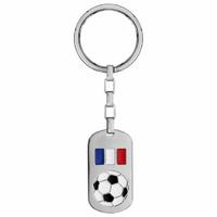 Porte clés foot France + gravure verso, acier