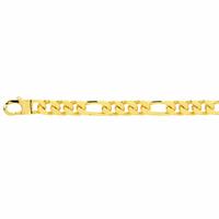 Bracelet figaro 7mm - 19 à 22cm, plaqué or