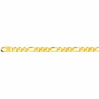 Bracelet figaro 5mm - 19 à 21cm, plaqué or