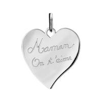 Pendentif coeur Maman on t'aime + gravure verso, argent 925 rhodié
