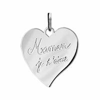 Pendentif Coeur Maman je t'aime + gravure verso, argent 925 rhôdié