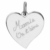 Pendentif coeur Mamie on t'aime + gravure, argent 925 rhodié - 2.5cm
