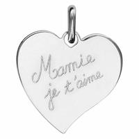 Pendentif coeur Mamie je t'aime + gravure, argent 925 rhodié - 2.5cm