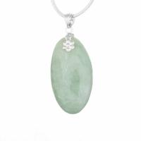 Pendentif Jade vert & argent 925, haut. 4.5cm