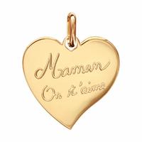 Pendentif coeur Maman on t'aime + gravure verso, plaqué or - 2.5cm