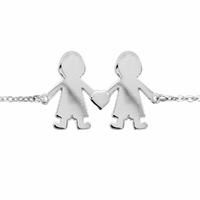 Bracelet 2 petits garçons + gravure - 13 à 21cm, argent 925