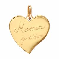 Pendentif coeur Maman je t'aime + gravure verso, plaqué or