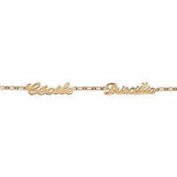 Bracelet 2 prénoms découpés, régl. de 17 à 22cm ! plaqué or