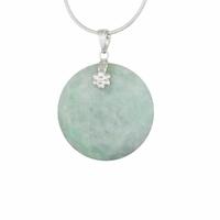 Pendentif Jade vert & argent 925, diamètre 3cm, haut. 4cm