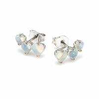 Boucles coeurs Opale blanche & argent 925 rhôdié