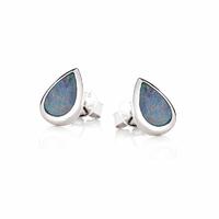 Boucles Opale bleue & argent 925 rhôdié, puces au choix