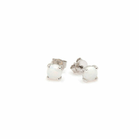 Boucles opale blanche & argent 925 rhodié, puces 4mm