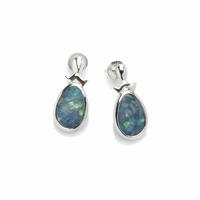 Boucles opale bleue & argent 925 rhôdié, haut. 2cm