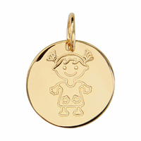 Médaille fillette + gravure, haut. 1.7cm, plaqué or