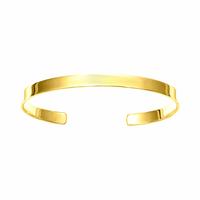 Jonc ruban plat 5mm, tout poignet jusque 18cm + gravure, plaqué or