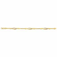 """Bracelet plaqué Or & oxydes, """"navettes"""", long. 18cm"""