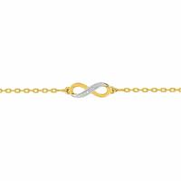 Bracelet infini - 15 à 18cm, oxydes & plaqué or 18K
