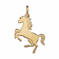 Pendentif cheval + gravure, hauteur 3,5cm, plaqué or 18K