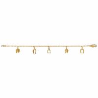 Bracelet chevaux, fers et étriers - 17cm, plaqué or