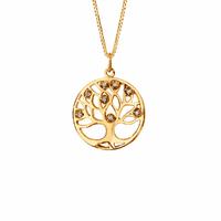 Collier arbre de vie, oxydes, 2cm - 42 à 45cm, plaqué or
