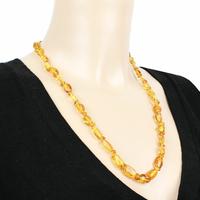 """Collier ambre miel/doré qualité """"extra"""", forme olives - 60cm"""