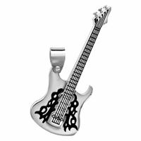 Pendentif guitare électrique + gravure, grand modèle, acier