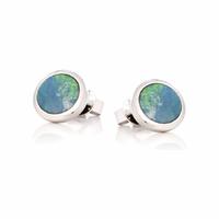 Boucles Opale bleue & argent 925 rhôdié, 7 ou 9mm de diamètre