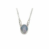 Collier opale bleue & argent 925 rhôdié, réglable 42 à 45cm
