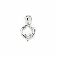 Pendentif coeur opale lavande & argent 925 rhôdié - 1.8cm