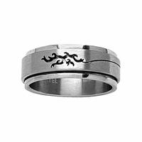 Bague motif Tribal ajouré, anneau tournant, T. 56 au 66, acier