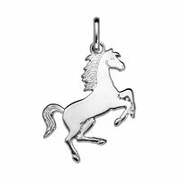 Pendentif cheval option gravure verso, argent 925 - 3.5cm