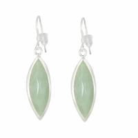 Boucles Jade vert & argent 925 - 4cm
