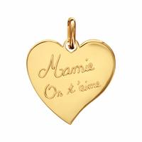 Pendentif coeur Mamie on t'aime + gravure, plaqué or 18K