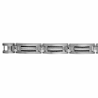 Bracelet 11mm, câbles noir & gris, réglable 21 ou 23cm, acier