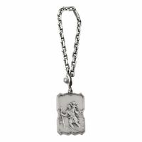 Porte clés St Christophe + gravure, argent 925 vieilli (14g)