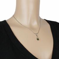 Pendentif tourmaline verte & argent 925, haut. 2.5cm