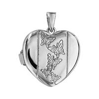 Pendentif cassolette Coeur & papillons + gravure, porte-photos, argent 925 rhôdié