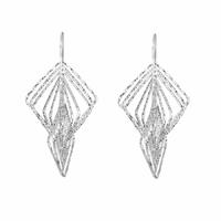 Boucles losanges, long. 5cm, argent 925 diamanté (11g)