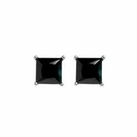 Boucles oxydes noirs 4X4mm & argent 925 rhôdié