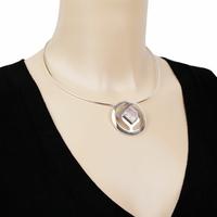 Pendentif quartz rose & argent 925, diamètre 3.6cm