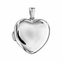 Pendentif coeur 1-2 photos + gravure, argent 925 rhôdié - 2.5cm