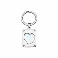 Porte-clés Coeur à photo + gravure verso, acier, 2.5x3cm, haut. totale 6,5cm